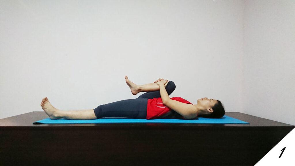 Supine knee to chest (SUPTA PAVANMUKT asana)